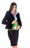 Business woman with gift Stock Images