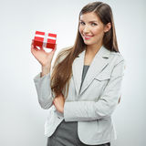 Business woman gift. White background Stock Photos