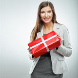 Business woman gift. White background Stock Photo
