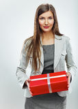 Business woman gift. White background Royalty Free Stock Photo