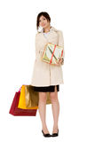 Business woman with gifts Royalty Free Stock Image