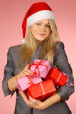 Business-woman & gifts Stock Images