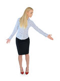 Business woman give help hand. Isolated business woman give help hand Royalty Free Stock Photos