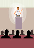 Business woman give speech on stage at conference Stock Image