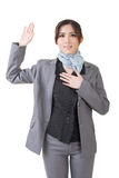 Business woman give you a gesture of swear Stock Image