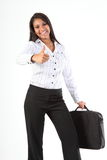 Business woman gives fun thumbs up for success Stock Images