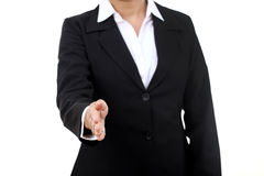 Business woman gives a handshake Stock Photo
