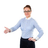 Business woman gives a handshake Royalty Free Stock Photo