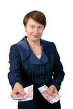 The business woman gives money. On white background Stock Photography