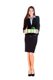 Business woman gives you a gift Royalty Free Stock Photo