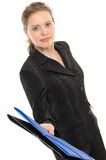 Business Woman, Giving A Folder Royalty Free Stock Photos