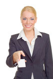 Business woman giving card Stock Image