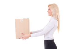Business woman giving cardboard box isolated on white Royalty Free Stock Images