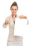 Business woman giving documents and pen for sign Stock Photo