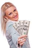 Business woman giving Dollar bills Stock Photography