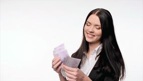 Business woman giving euro cash stock video footage