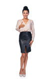 Business woman giving fake greeting Royalty Free Stock Photo