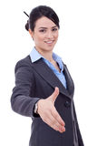 Business woman giving hand for handshake Stock Photography