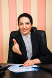 Business woman giving handshake or welcome Stock Photo