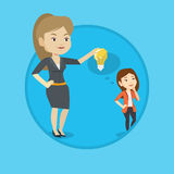 Business woman giving idea bulb to her partner. Royalty Free Stock Images