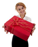 Business woman is giving a present Stock Images