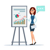 Business woman giving a presentation speech showing marketing Royalty Free Stock Image