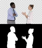 Business woman giving some ideas to her boss, Alpha Channel royalty free stock photography