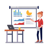 Business woman giving a speech showing sales. Statistics graphs on presentation screen. Modern colorful flat style vector illustration isolated on white stock illustration