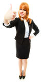 Business woman giving thumb up sign Stock Images