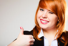 Business woman giving thumb up sign Stock Photography