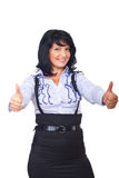 Business woman giving thumbs up royalty free stock photography