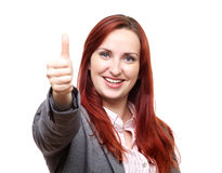 Business woman giving thumbs up stock image
