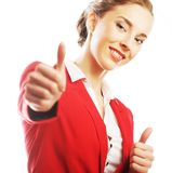 Business woman giving thumbs up Royalty Free Stock Photos