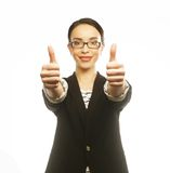 Business woman giving thumbs up Stock Photos