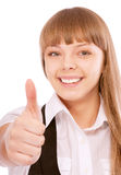Business woman giving thumbs-up sign Royalty Free Stock Photography