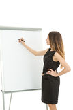 Business woman giving training and writing on a white board Royalty Free Stock Photos