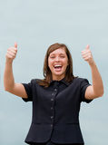 Business Woman Giving Two Thumbs Up Royalty Free Stock Photos