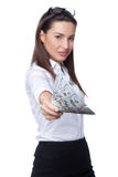 Business woman giving you us dollar Stock Image