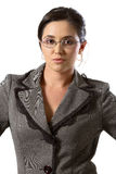 Business woman with glases. Closeup of business woman with glasses looking at camera royalty free stock photos