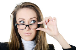 The business woman in glasses Stock Image