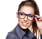 Business woman in glasses. Portrait on white Royalty Free Stock Photography