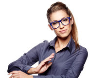 Business woman in glasses. Portrait on white Stock Image