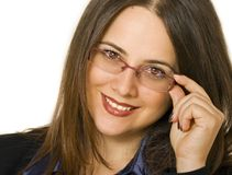 Business woman with glasses. Smiling business woman with glasses Stock Photo
