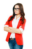 Business woman in glasses. Beautiful business woman in glasses in red jacket looking out the picture Stock Images