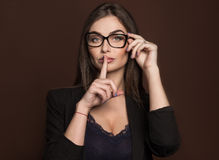 Business woman in glasses and a black suit Royalty Free Stock Image