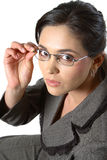 Business woman with glasses closeup. Closeup of business woman with glasses looking at camera stock images