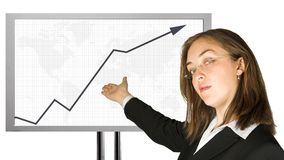 Business woman with glasses doing a presentation Stock Image
