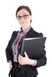 Business woman with glasses and file folder royalty free stock photos