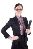 Business woman with glasses and file folder Stock Photography