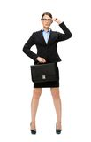 Business woman in glasses handing case Royalty Free Stock Images
